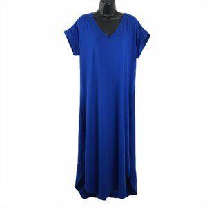 Soft Surroundings So Easy Knit Dress Blue Cuffed